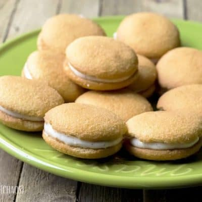 Pumpkin Cheesecake Sandwich Cookies easy recipe with wafers or cookies, cream cheese, sweetened condensed milk and pumpkin pie spice.