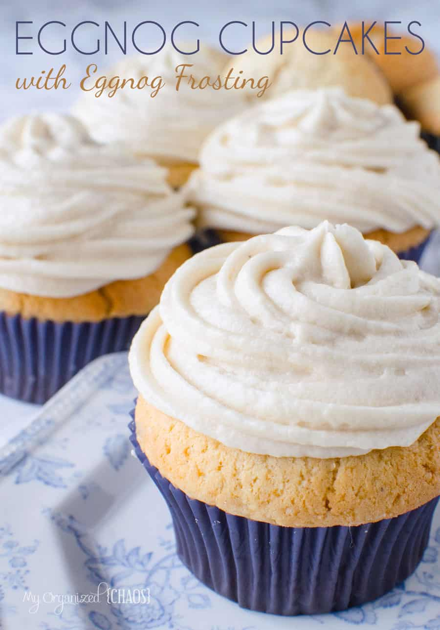 easy to make Eggnog Cupcakes with Eggnog Frosting