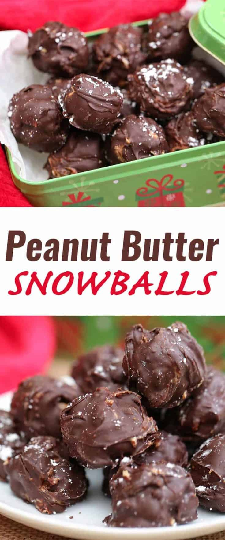 Peanut Butter Snowballs are a no-bake holiday recipe. It's a very easy recipe with few ingredients. Make for yourself, for a holiday treat exchange or for gifting #snowballs #holidaybaking #christmas #nobake