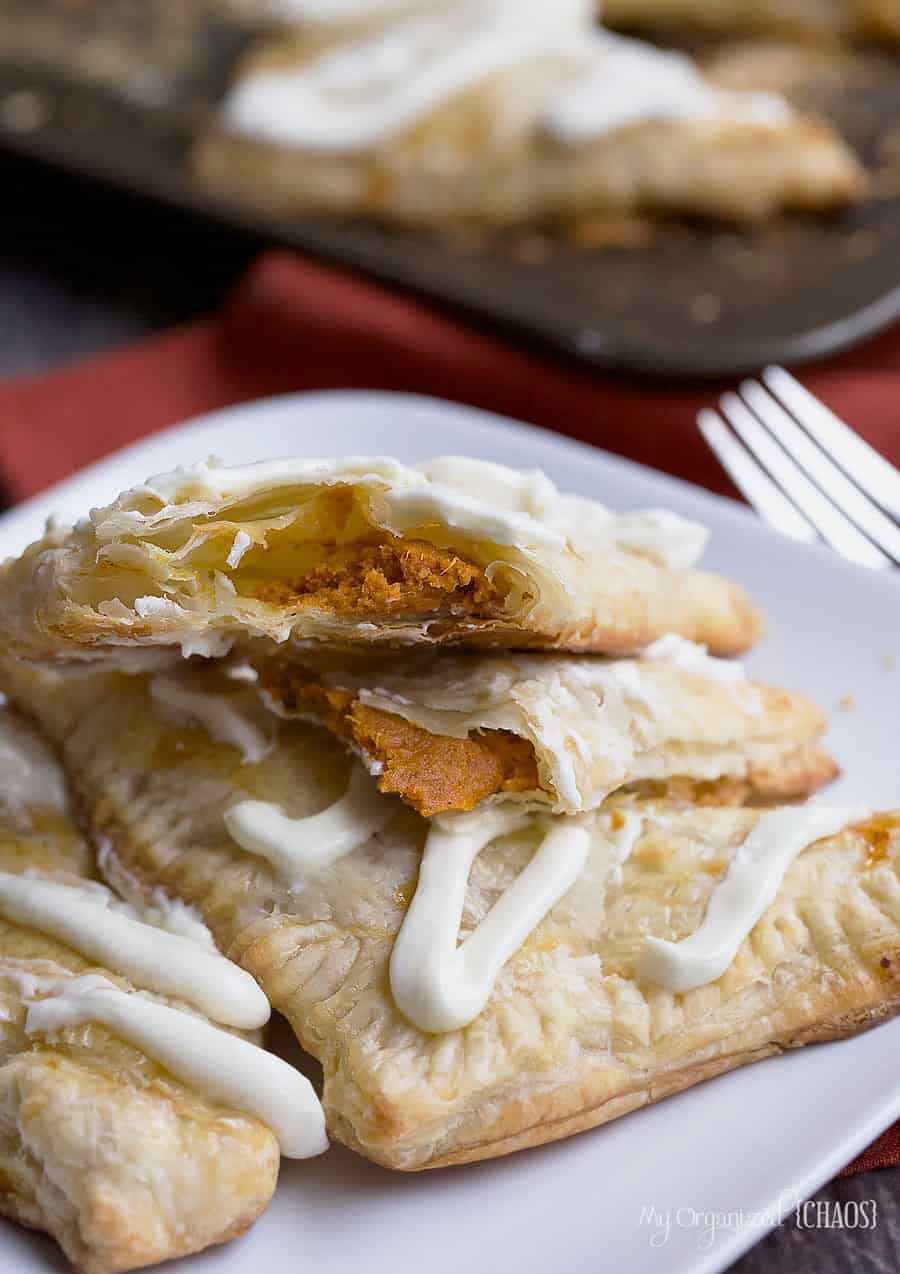 pumpkin pie turnovers easy recipe cream cheese frosting