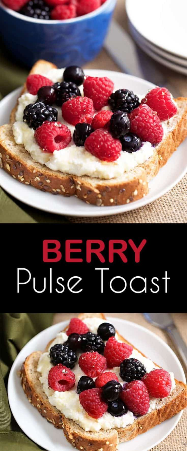 This Sunrise Power Berry Pulse Toast recipe is toast with a ricotta honey spread, and fresh berries - amazing! #breakfastrecipe #toast