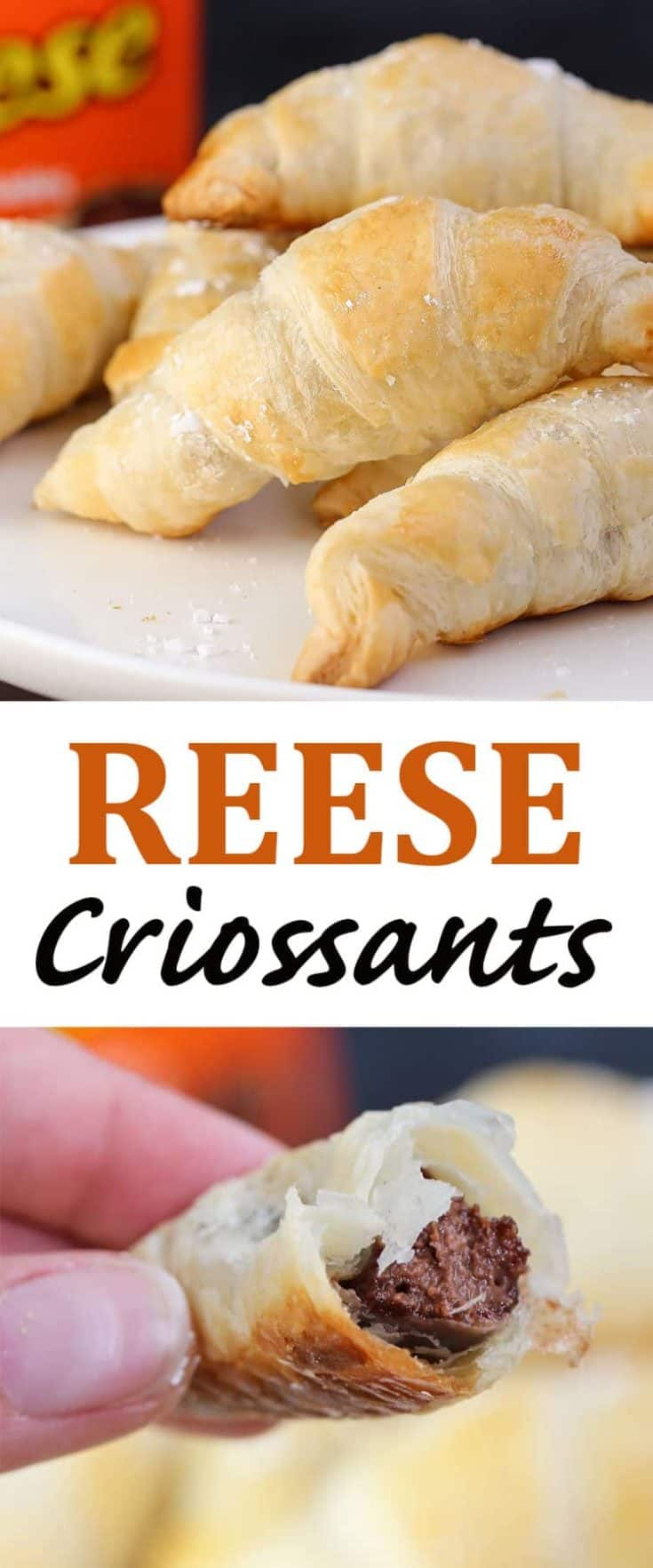 These flaky and delicious REESE Croissants are so very simple to make, and actually take only 3 ingredients for this yummy chocolate croissant #Croissants