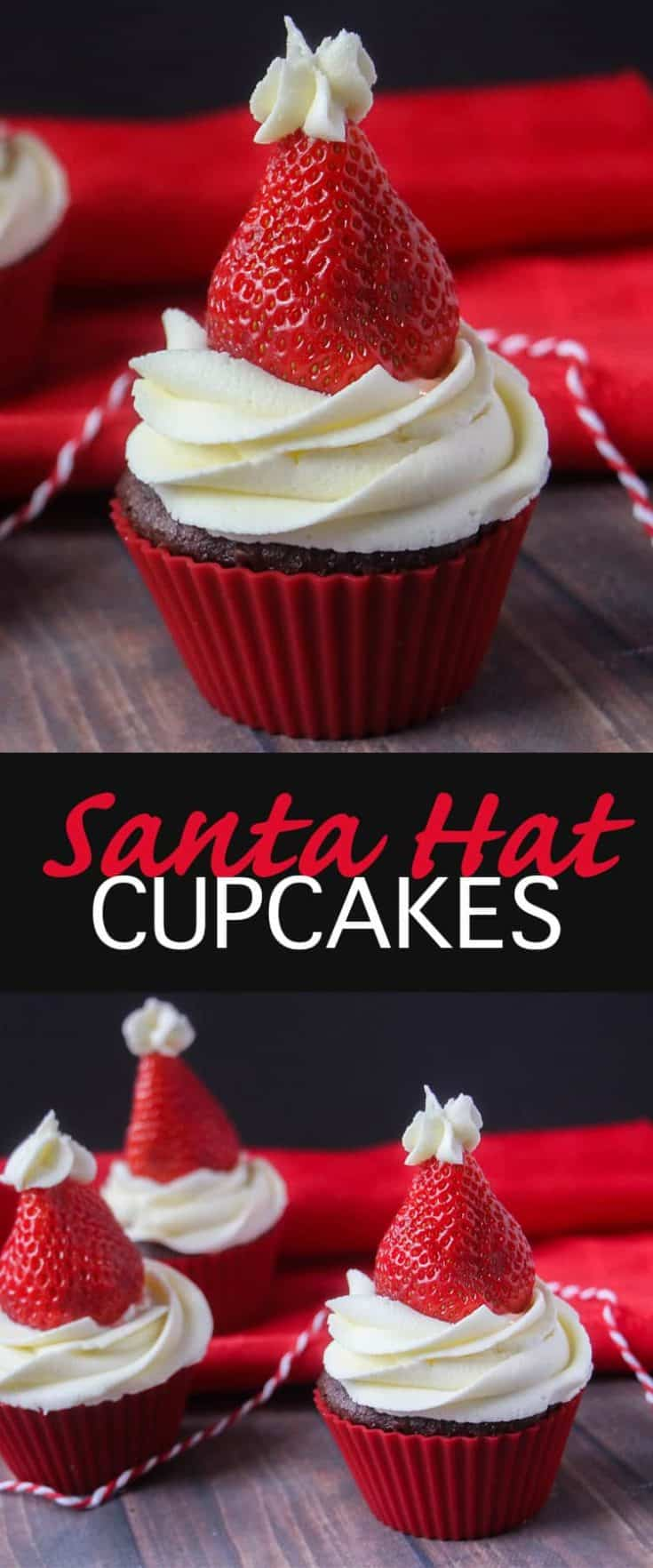 Easy and simple Santa Hat Cupcakes are made with strawberries and a yummy classic vanilla buttercream frosting. Such a festive holiday cupcake recipe! #cupcakes #christmas #santahatcupcakes