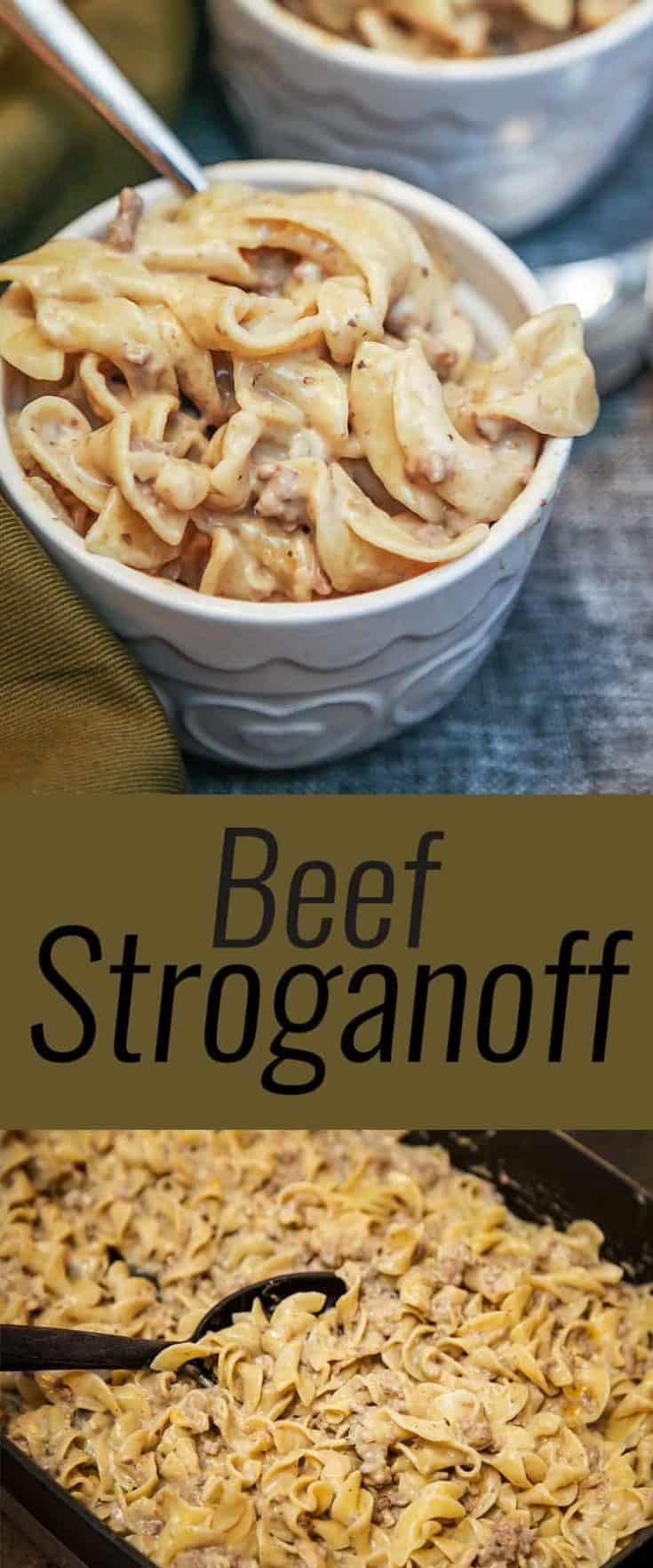 This simple and easy delicious Beef Stroganoff recipe is one of our family favourite ground beef recipe, and is a great under 30 minute meal. #BeefStroganoff #easyrecipes