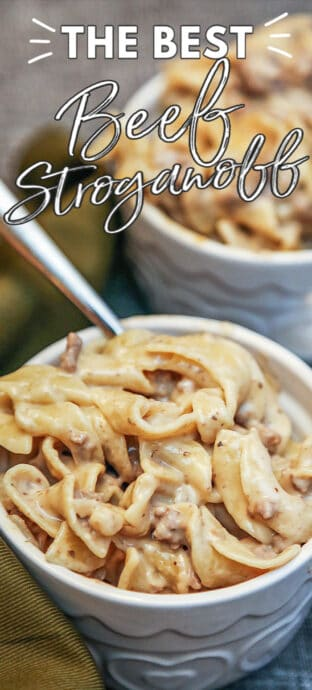 BEEF STROGANOFF in a bowl with text