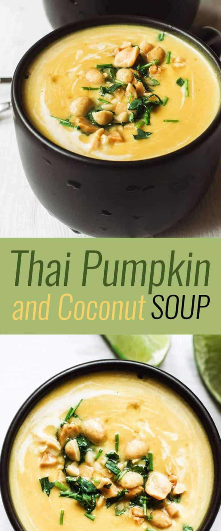 Comforting Thai Pumpkin and Coconut Soup has a bit of kick from curry paste and plenty of creaminess from yummy coconut milk. Delicious indeed, and a Thai pumpkin soup you'll definitely want to try! #soup #pumpkinsoup #souprecipes