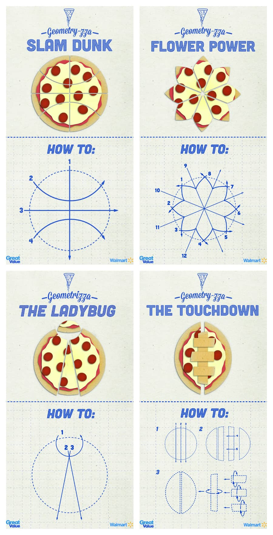 Pizza Geometry-zza for Kids to try at home. Fun ways to create and cut your pizza