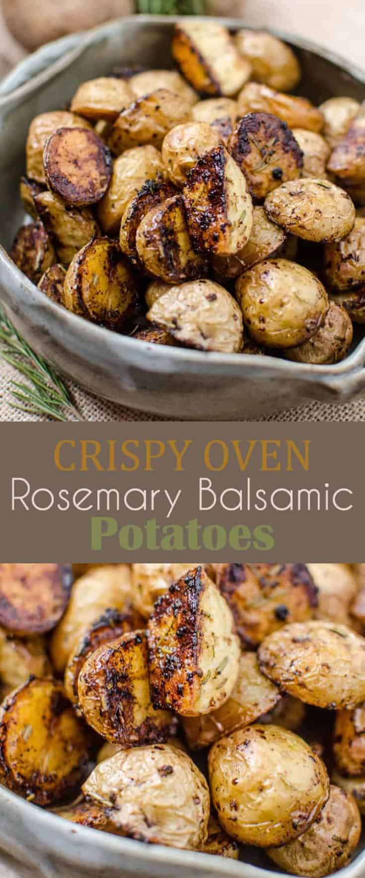 Crispy Oven Rosemary Balsamic Potatoes are slightly sweet from the caramelization on the bottoms with a savoury taste from the spices. A fantastic potato recipe! #potatorecipe #sidedish #roastedpotatoes