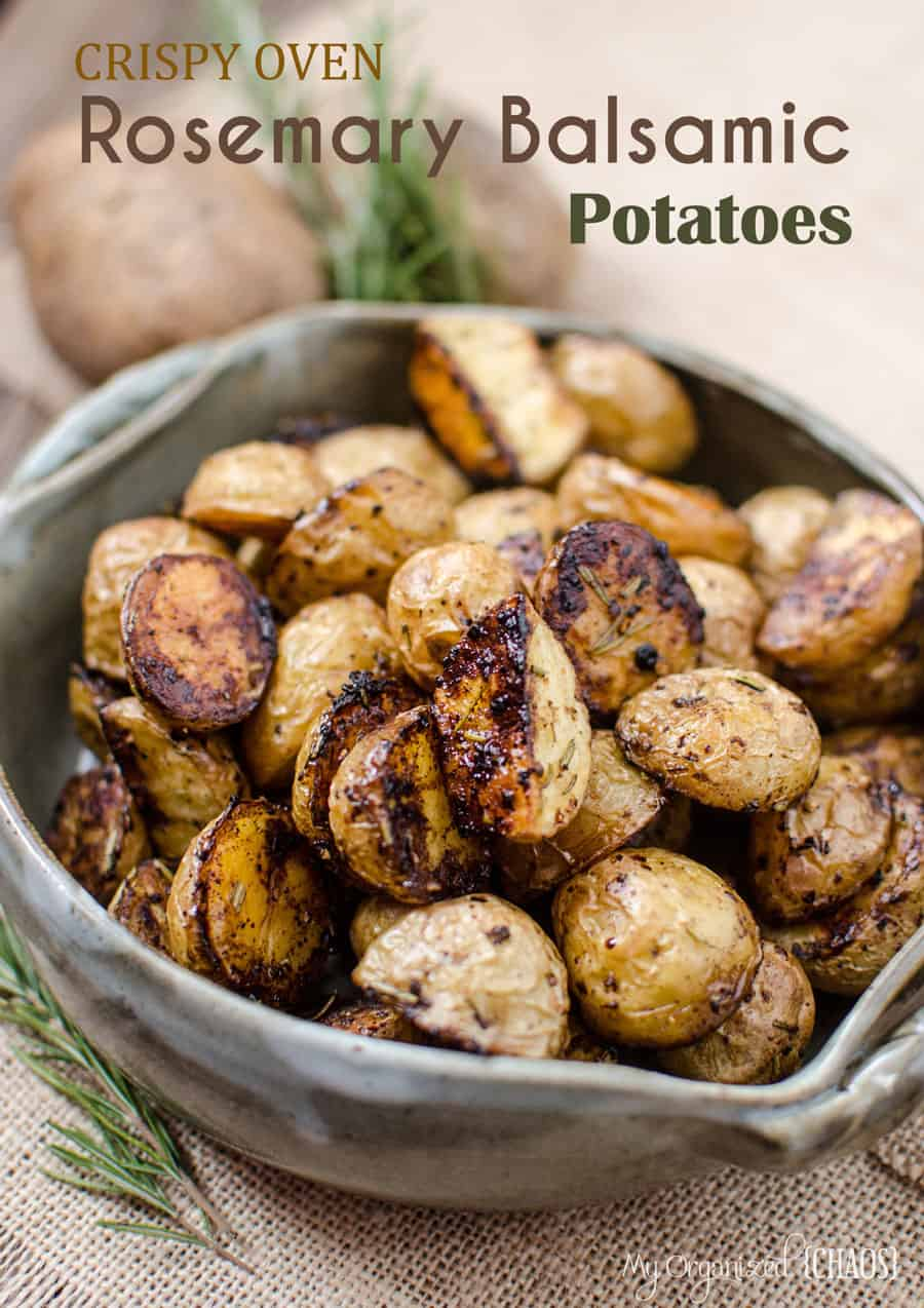 Crispy Oven Rosemary Balsamic Potatoes - slightly sweet from the caramelization on the bottoms with a savoury taste from the spices