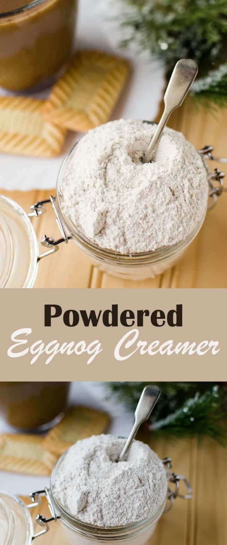 This Powdered Eggnog Creamer takes just a few ingredients and is really easy to make - you can have your own DIY holiday coffee creamer in no time! #eggnogcreamer #coffeecreamer #coffee