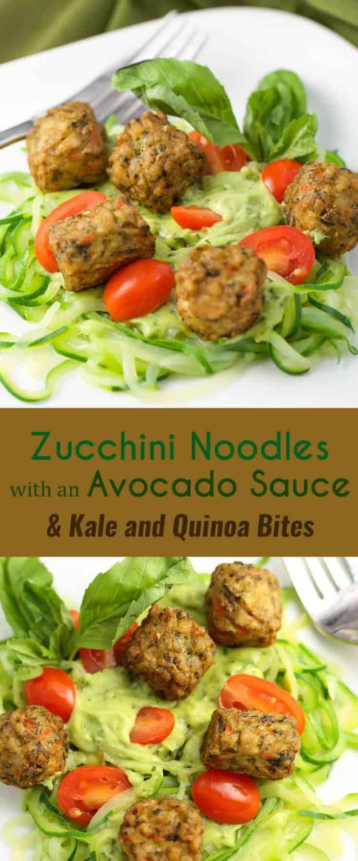 This Zucchini Noodles with an Avocado Sauce and Kale and Quinoa Bites recipe is packed with vegetables, a great source of fibre, and is delicious! #zucchininoodles #avocadosauce