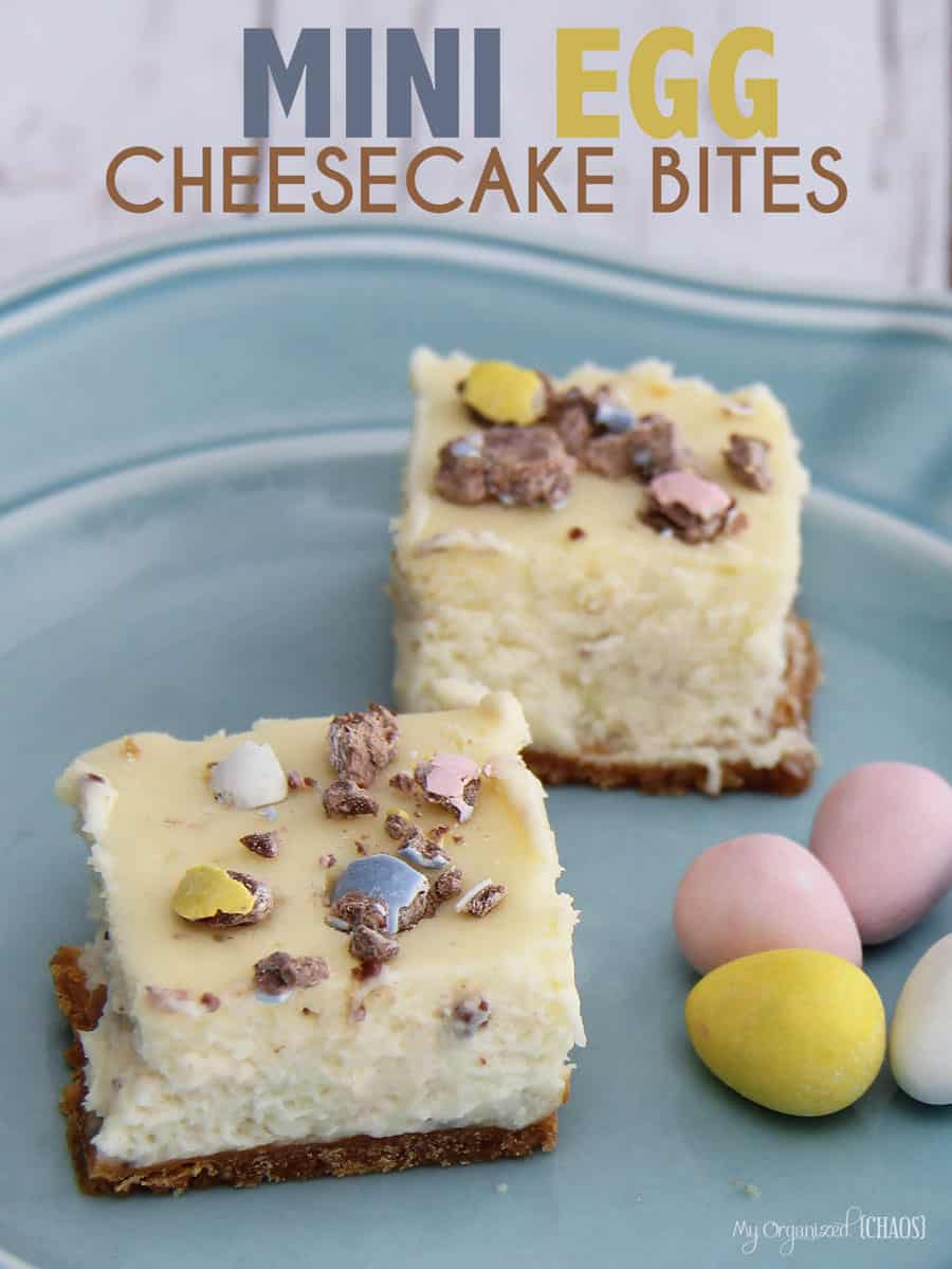 Mini Egg Cheesecake Bites are a perfect treat for Easter - the colours are fresh like spring, and the candy and vanilla cheesecake taste is amazing.