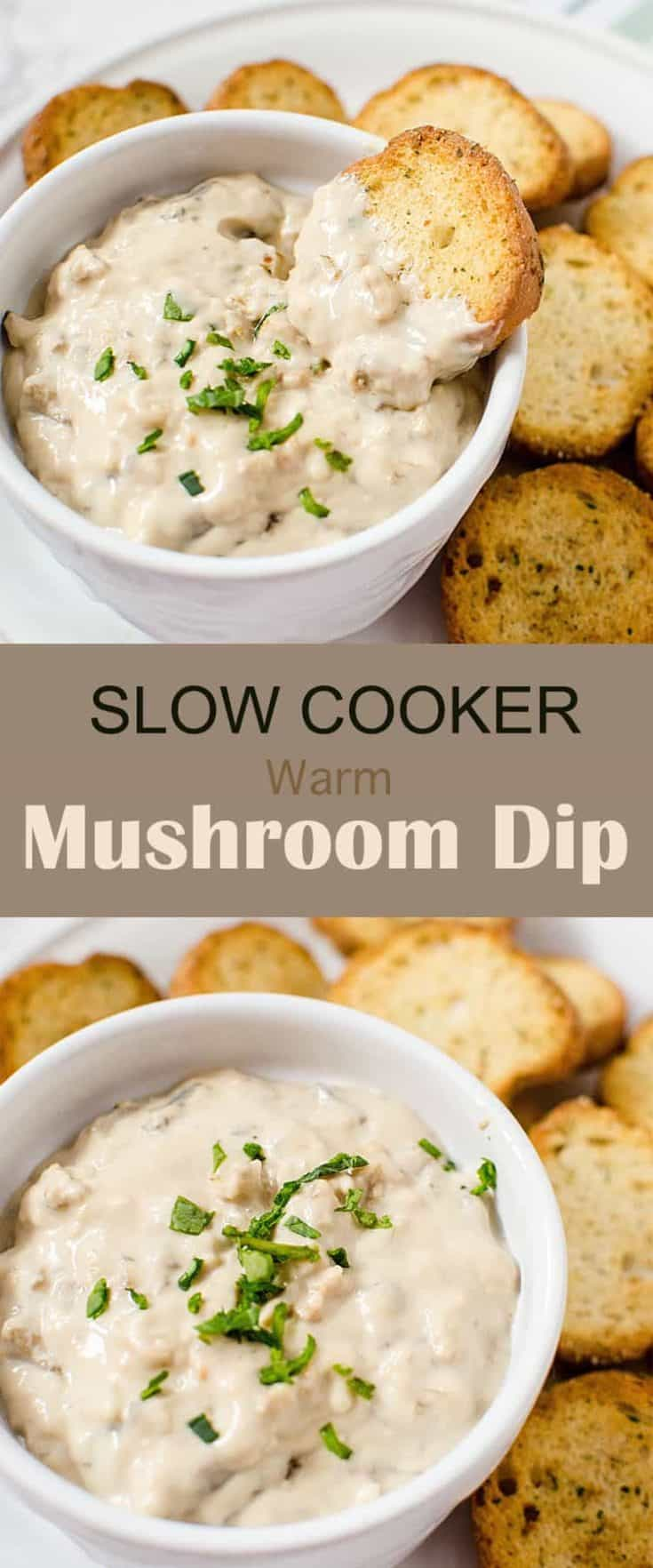 Slow Cooker Warm Mushroom Dip appetizer recipe, I love that it's made in the crockpot, so it's one you can make while getting doing other things. Delicious! #appetizerdip #diprecipe #mushroomdip