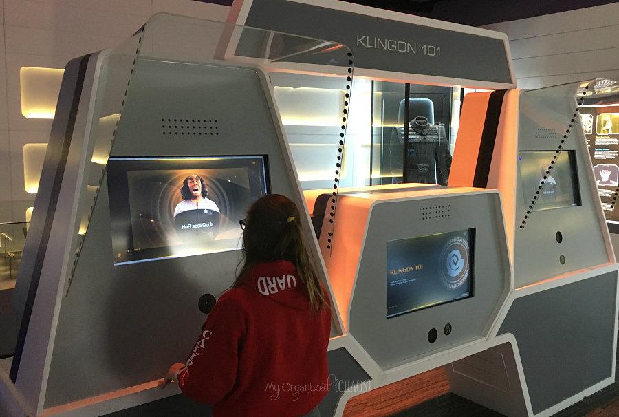 Speak Klingon Startrek Starfleet Academy Experience exhibit at Telus Spark