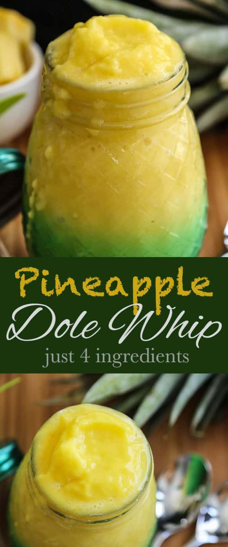 This easy Homemade Pineapple Dole Whip recipes uses just 4 ingredients - the frozen fresh taste is amazing and just like the Disney version. #dolewhip #pineapple #disneycopycat