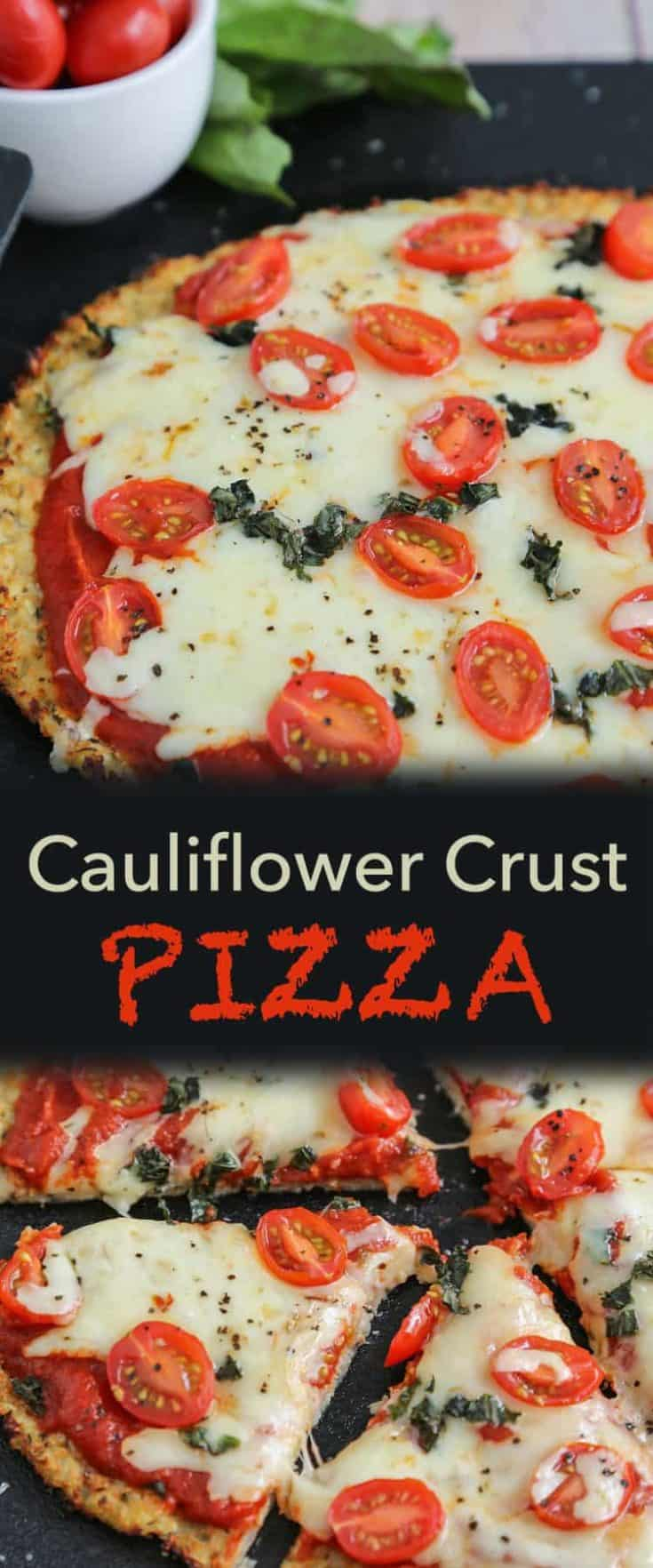 Cheesy Cauliflower Crust Pizza, crispy crust that is close to traditional - but Low-Carb and Low-Calorie. #cauliflowerpizzacrust #cauliflowercrust #lowcarbpizza #ketopizza #keto #lowcarb #pizza
