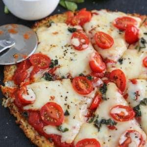 Cheesy Cauliflower Crust Pizza