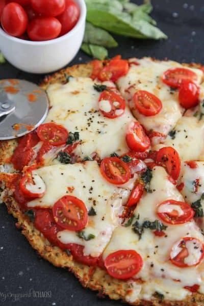 Cheesy Cauliflower Crust Pizza