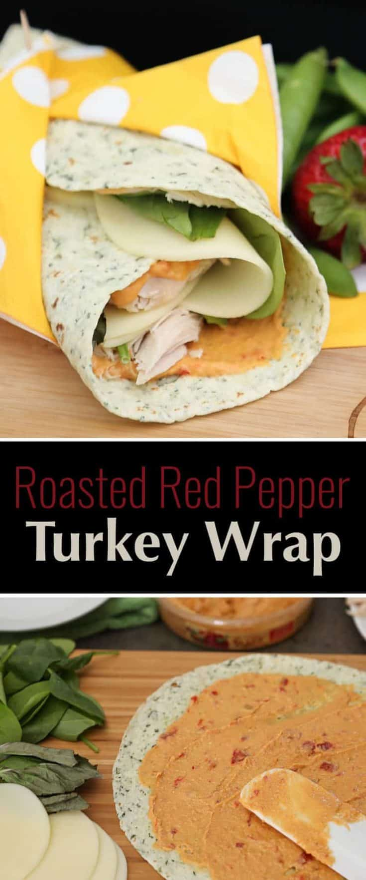 Roasted Red Pepper Turkey Wraps uses turkey, fresh spinach, basil, tasty provolone cheese, and Sabra Roasted Red Pepper Hummus for the spread. YUM! #turkey #wrap #lunchrecipe