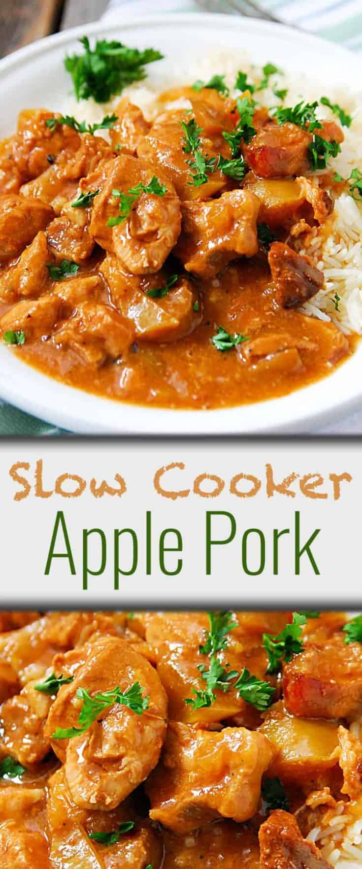 Slow Cooker Apple Pork uses common ingredients and is crockpot convenient. Very easy and so delicious! This slow cooker pork recipe is perfect for everyday to holiday dinners! #slowcooker #porkrecipe #slowcookerpork #applepork
