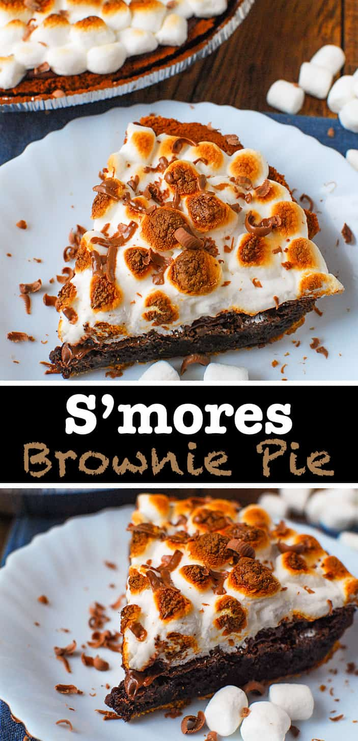 Brownie S'mores Pie is smores in the oven - just 4 ingredients and simple instructions you can have that best summertime dessert in no time. #browniepie #smores #brownierecipe #dessertrecipe