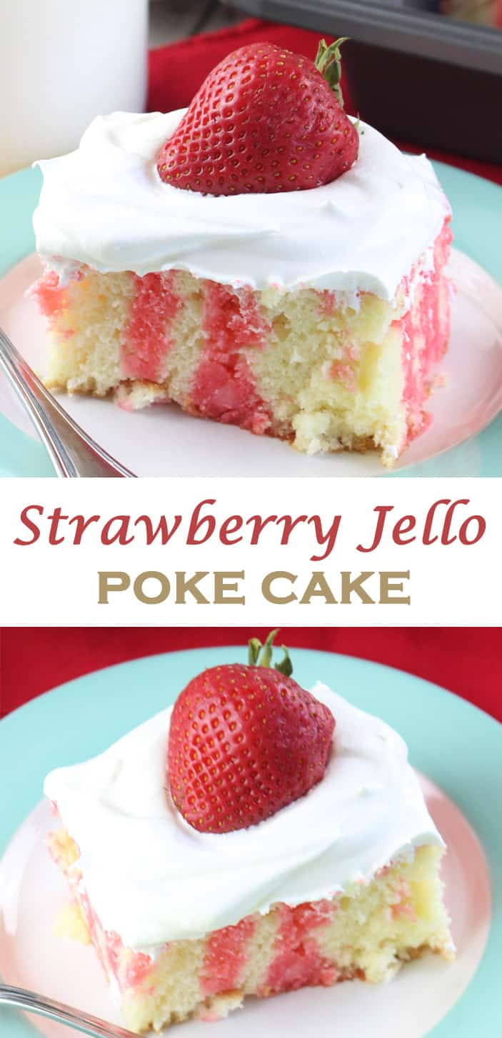 Strawberry Jello Poke Cakes