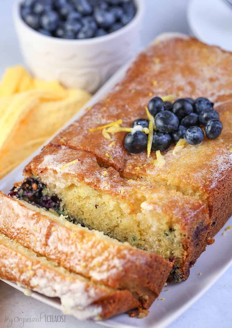 Blueberry Lemon Loaf Cake is so moist and delicious. A sweet and savoury quick bread or cake recipe - blueberries and lemon are a winning combination!