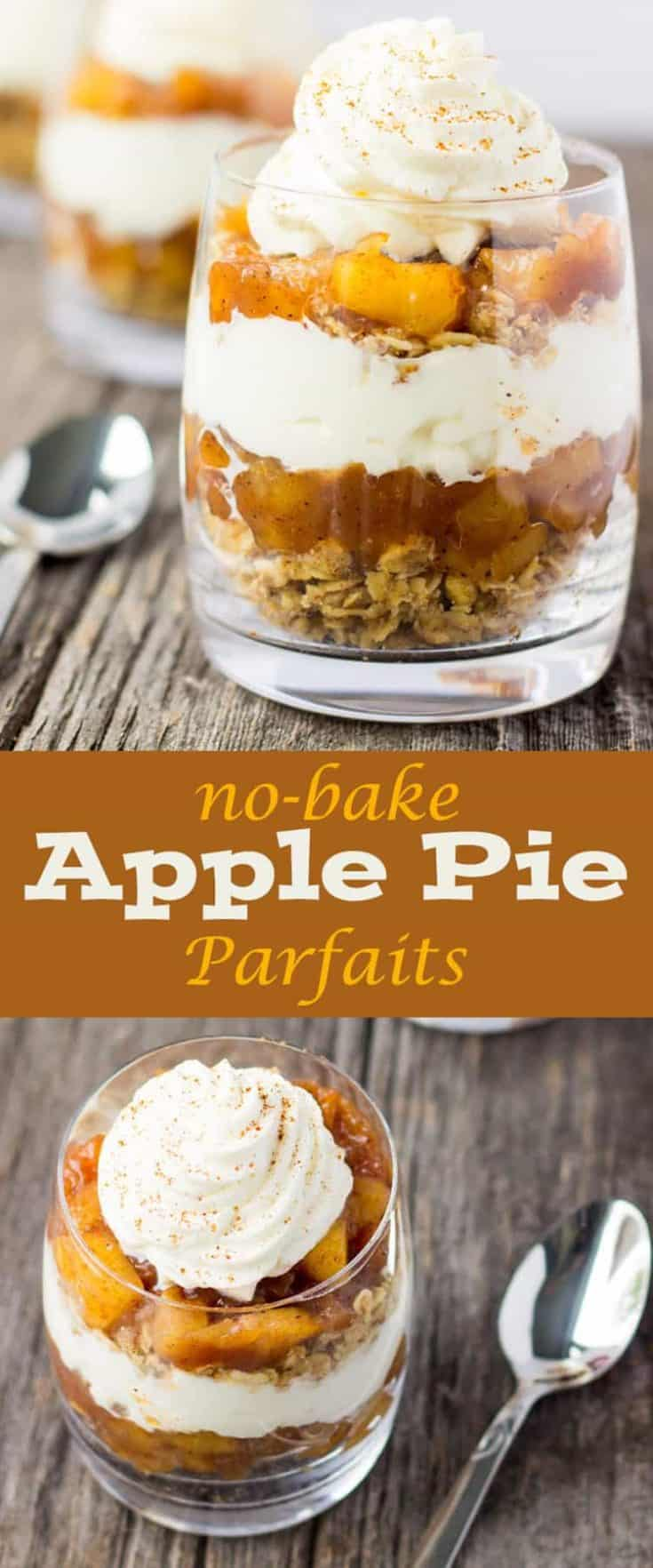 These NO-BAKE APPLE PIE PARFAITS are very much like the classic and much loved apple pie dessert, yet this recipe is no-bake and served in a cup. Simple and ready in no time, it's not too heavy yet very full of flavour! #applepierecipe #applerecipes #parfaitdesserts #parfait #parfaitrecipes