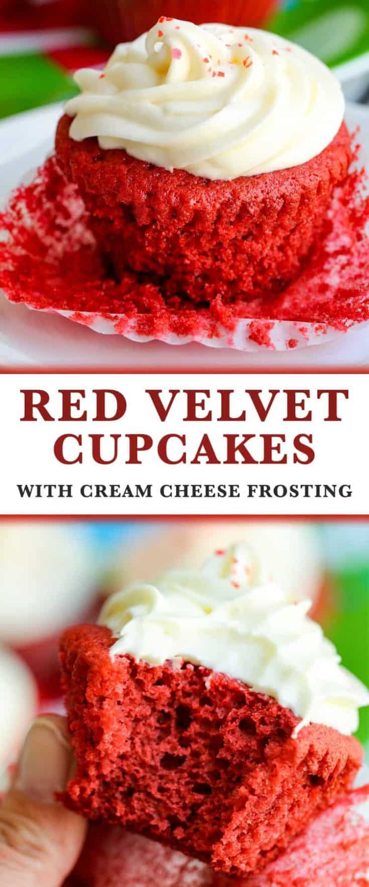 Red Velvet Cupcakes with Cream Cheese Frosting, moist and flavourful cake paired with the best cream cheese frosting. It's a classic and rich dessert recipe #redvelvert #redvelvetcupcakes #cupcake