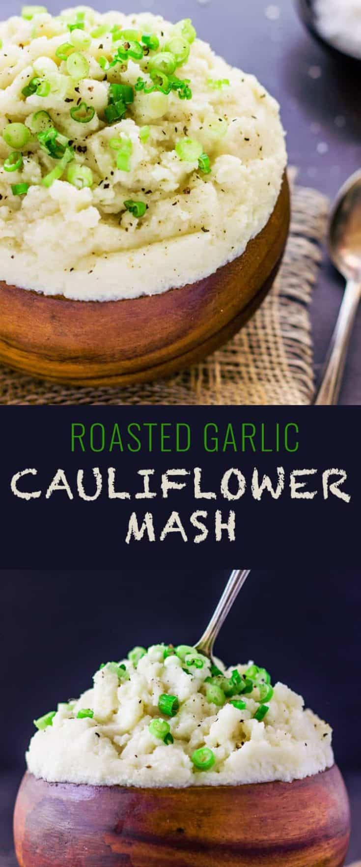 This Roasted Garlic Cauliflower Mash is a healthier, yet very tasty alternative to traditional mashed potatoes. A delicious low-carb side-dish ready in under 20 minutes #cauliflowermashedpotatoes #cauliflowerrecipe #sidedish #healthyside