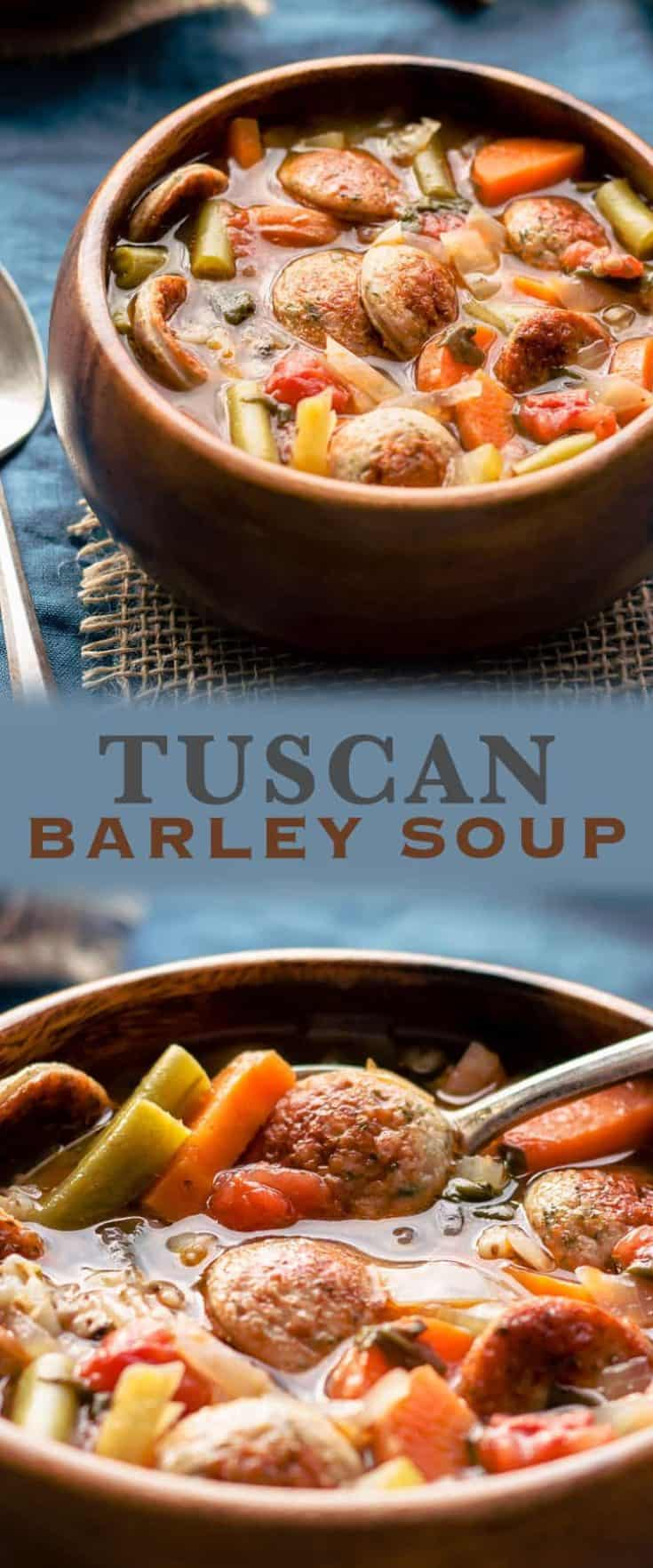 Delicious and healthy Tuscan Barley Soup - full of vegetables and low-fat turkey sausages, it's very easy to make and ready within 60 minutes. #soups #souprecipe #tuscansoup #barleysoup