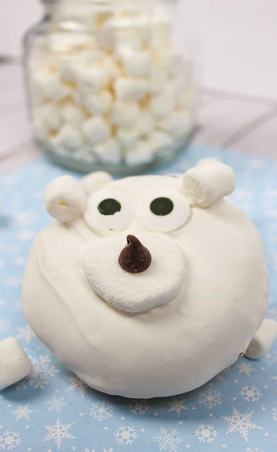 This Polar Bear Donuts recipe uses a box cake mix for ease. They will be the highlight of a school or activity holiday party, or bagged for exchanges