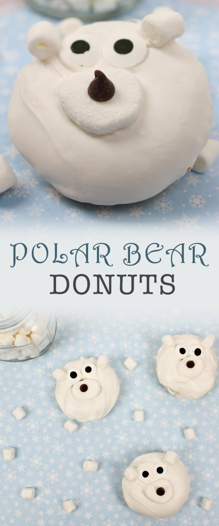 This Polar Bear Donuts recipe uses a box cake mix for ease. They will be the highlight of a school or activity holiday party, or bagged for exchanges #donuts #christmas