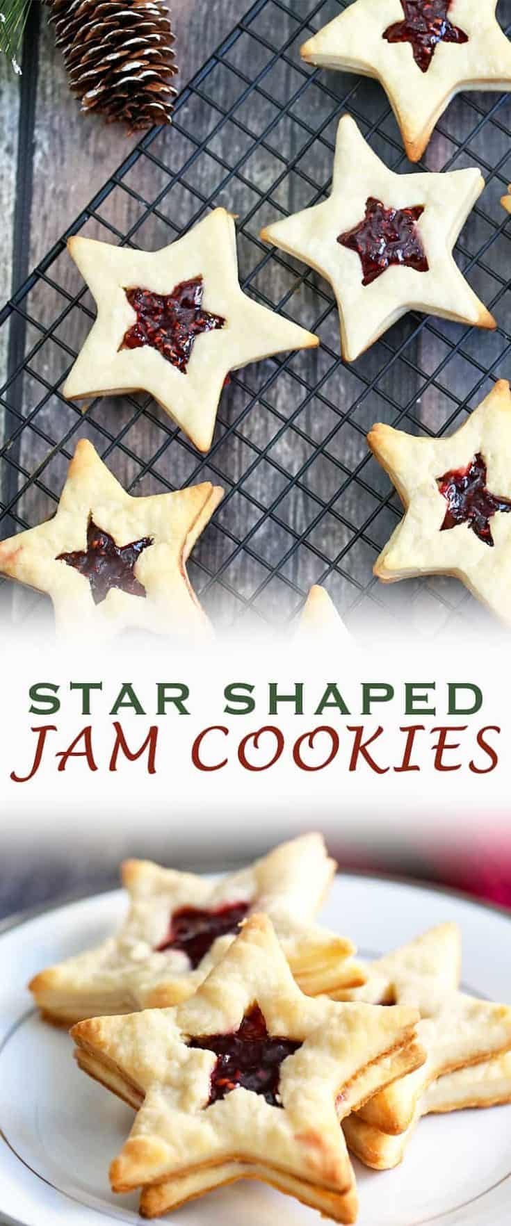 You can be theSTAR of the holiday party or baking exchange with these Star-Shaped Jam Cookies. They are a festive, fun and elegant holiday treat. #christmascookie #holidaybaking #cookieexchange