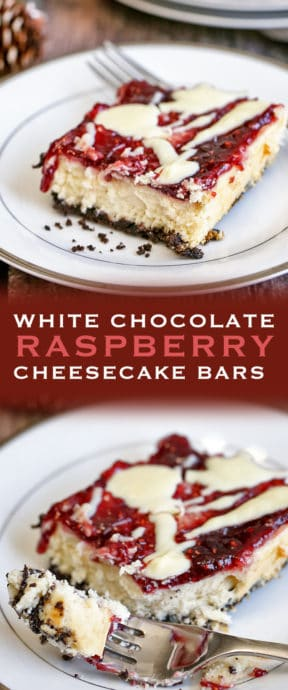 White Chocolate Raspberry Cheesecake Bars are sweet and tangy. The combination of an Oreo crust, white chocolate and raspberry jam is perfection