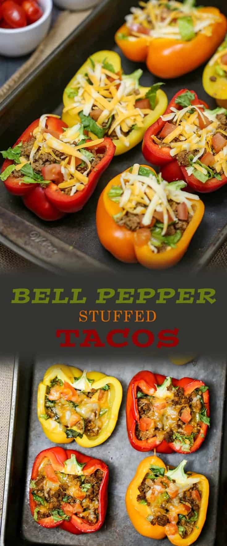 Bell Pepper Stuffed Tacos are baked with your favourite taco toppings inside, a great low-carb and low-calorie meal or appetizer option. With this no-fuss recipe, pre-cooking the bell peppers is not necessary. #stuffedpeppers #lowcarb #keto #tacostuffedpeppers