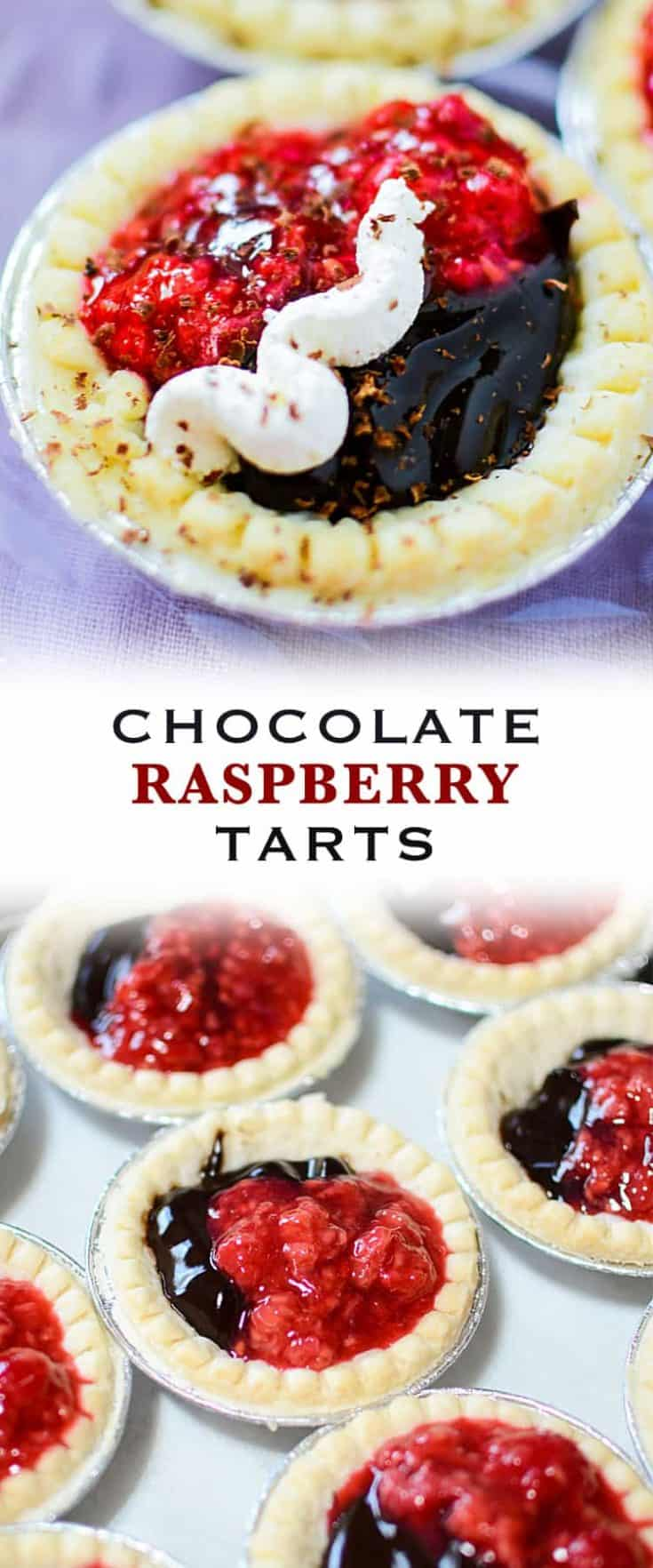 Chocolate Raspberry Tarts are as simple and easy recipe that is full-bodied in flavour. This quick tart dessert combines the creaminess of chocolate with the tang of a raspberry sauce. #tarts #tartrecipe #dessert