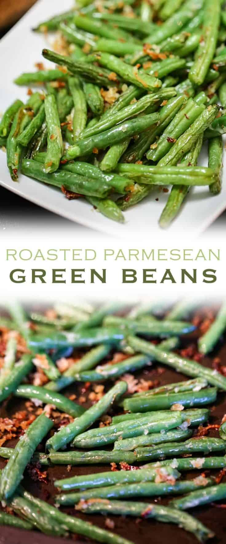 These Roasted Parmesan Green Beans are the most delicious way to enjoy fresh green beans. This simple vegetable recipe makes a great side dish to any meal! #greenbeans #roastedgreenbeans #sidedish