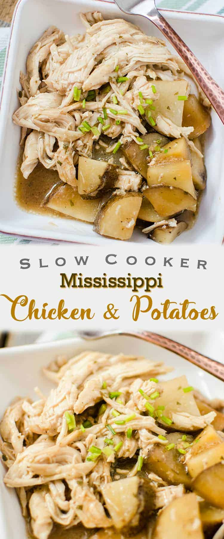 The star ingredients of this Slow Cooker Mississippi Chicken and Potatoes recipe is butter, ranch dressing mix and au jus - such a tasty flavour combination. I love it because it's a true delicious slow cooker meal.