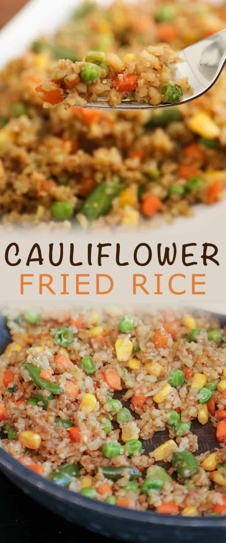 If you love Chinese fried rice, but don't enjoy the carb count that comes with it, you'll love this easy Cauliflower Fried Rice recipe. It takes few ingredients, can be ready in 15-20 minutes and is loaded with vegetables. #cauliflowerrice #cauliflowerfriedrice