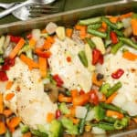 One Pan Maple Mustard Chicken and Vegetables is a marinated chicken breast recipe using two key ingredients: dry mustard and maple syrup. It's a nice flavour combination! The mixed vegetables sides are roasted along with the chicken, making it a one-dish meal.