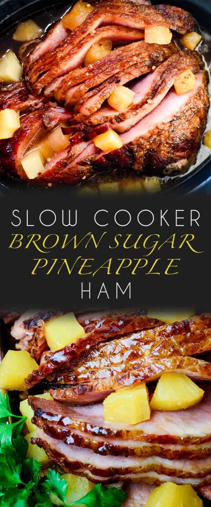 Slow Cooker Ham is a classic and iconic meal, yet there's so many variations on this recipe. Here is my go-to for the best Slow Cooker Brown Sugar Pineapple Ham ever, easy to make with just 5 ingredients - and so delicious! #ham #slowcooker