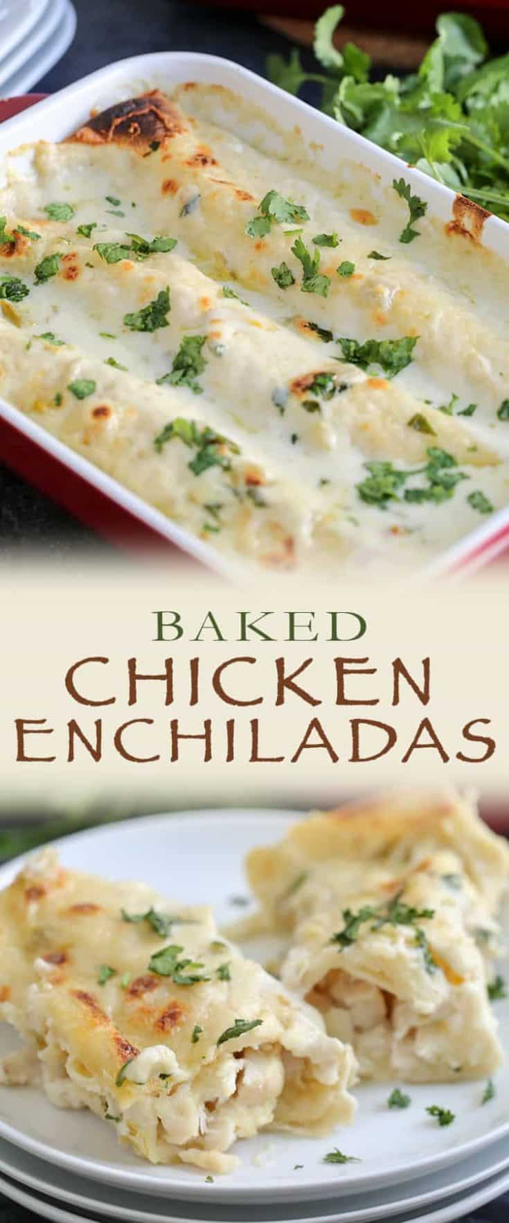 This is the BEST chicken enchilada recipe and one the whole family will love! Tips on how to shred chicken, a quick 10 minute creamy enchilada sauce starring sour cream and broth, and easy assembly thanks to using tortillas. This baked recipe will become a favourite! #chickenenchilada #chickenrecipe #enchilada
