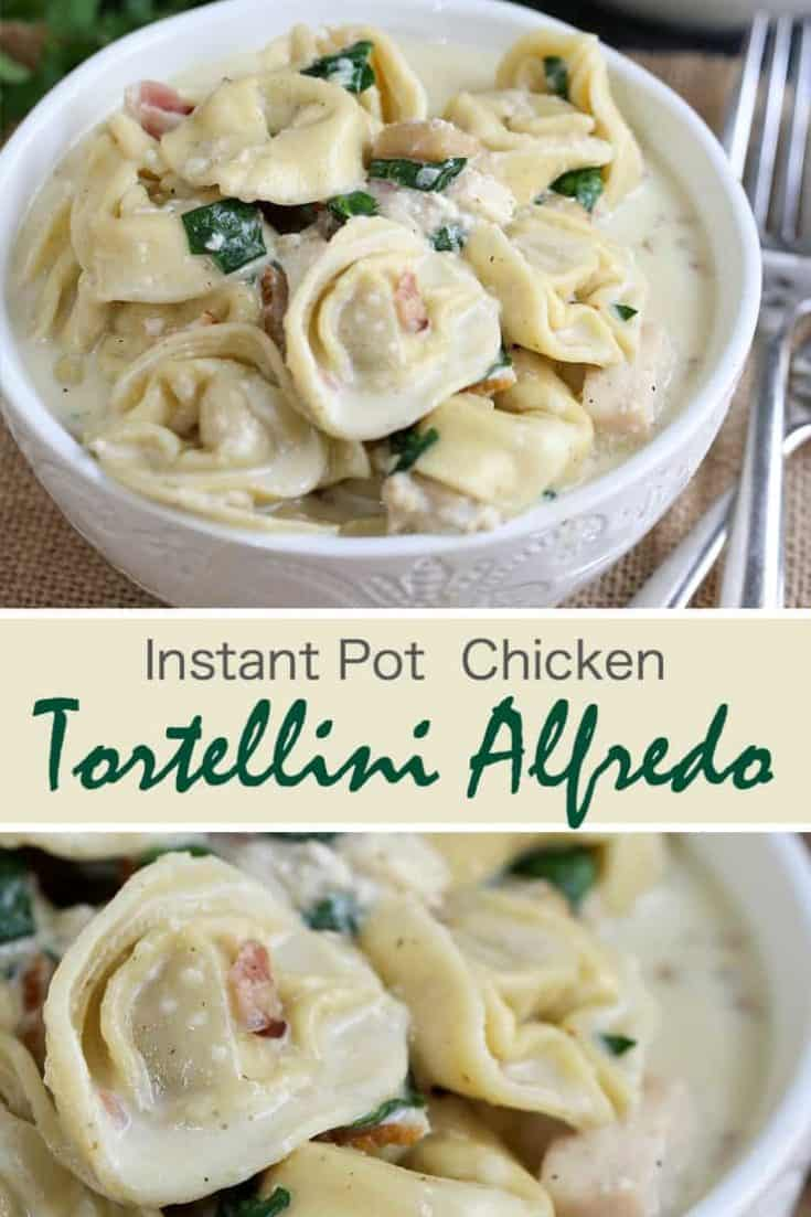 Instant Pot Tortellini Alfredo is a rich and delicious pasta recipe with bacon, chicken, spinach and a homemade Alfredo sauce. Kid-friendly and wonderful to use as leftovers, this dish is made in one pot which cuts down on prep and cook time, and makes cleanup a breeze! #instantpot #instantpotrecipe #tortellinialfredo #instantpotchicken