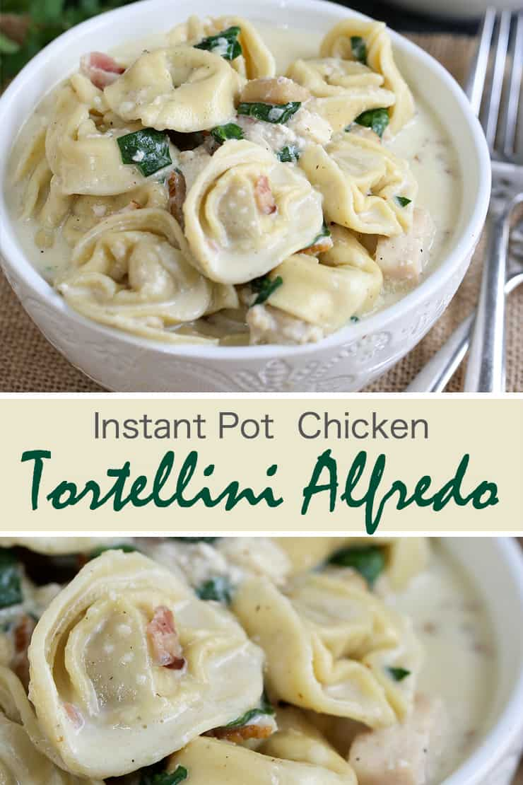 Instant Pot Tortellini Alfredo is a rich and delicious pasta recipe with bacon, chicken, spinach and a homemade Alfredo sauce. Kid-friendly and wonderful to use as leftovers, this dish is made in one pot which cuts down on prep and cook time, and makes cleanup a breeze!