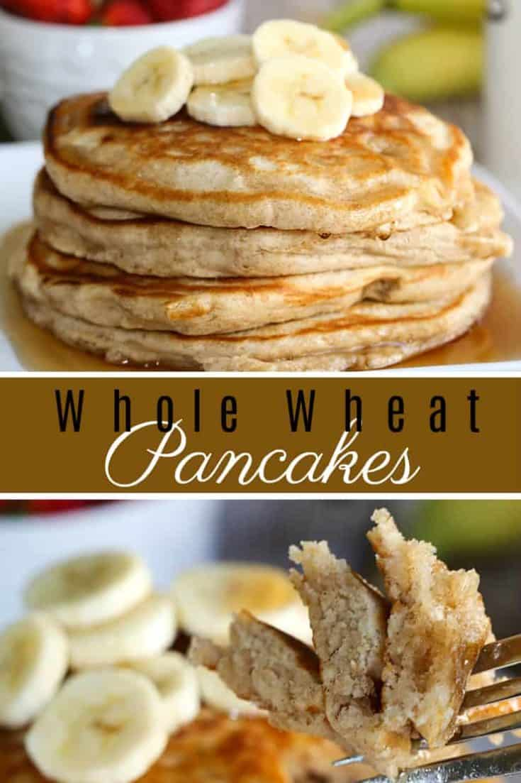 This is the best Whole Wheat Pancakes recipe - delicious and fluffy with irresistible vanilla and cinnamon. Also, it's a healthy option thanks to whole wheat flour. Trust me, you'll never make regular pancakes again when you try this better option. #pancakes #pancakesrecipe #wholewheatpancakes
