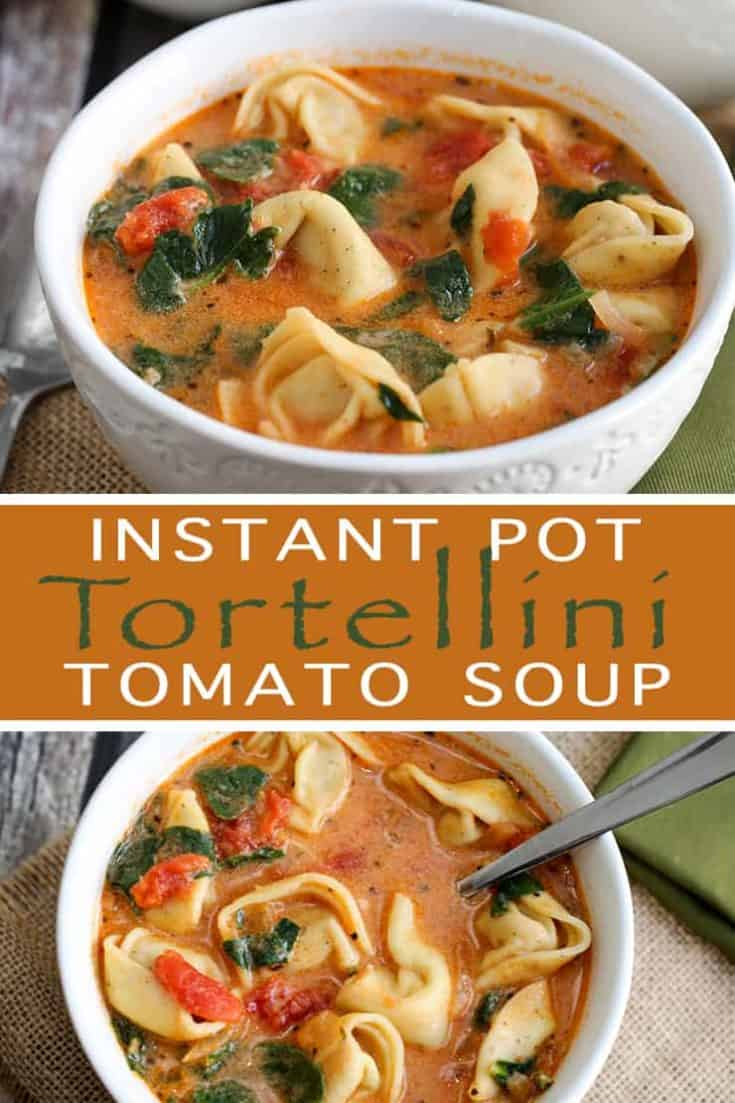 This Instant Pot Tomato Tortellini Soup recipe is creamy and delicious with spinach, chicken and a blend of perfect spices. It's a filling soup perfect for lunch or dinner, or simply when the craving for a comforting soup hits! #instantpot #instantpotsoup #souprecipe