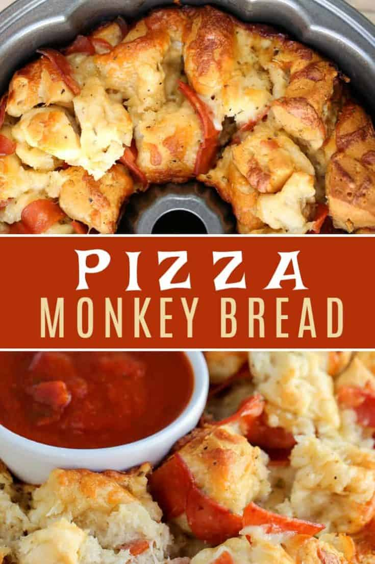 This easy Pizza Monkey Bread is stuffed with pepperoni, mozzarella cheese, and garlic all in a Bundt pan. If you love pizza, you'll love this pull-apart pizza made with refrigerated biscuits. #monkeybread #pizzabread #pizzamonkeybread