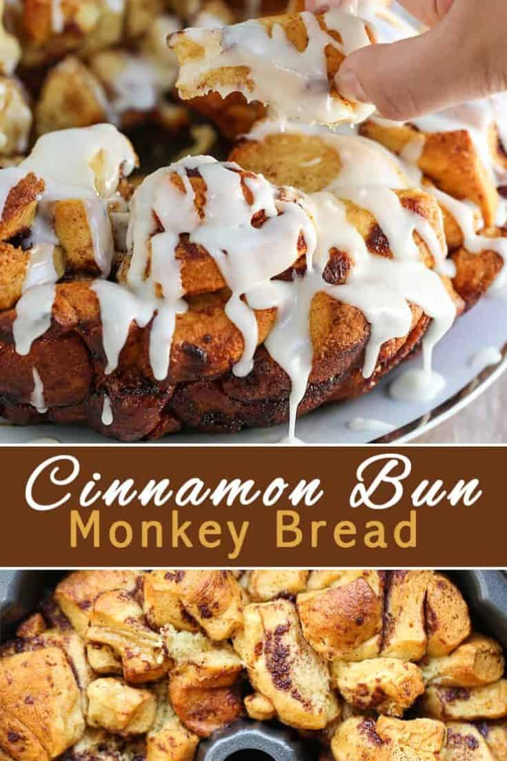 Cinnamon Bun Monkey Bread is a mountain of miniature cinnamon buns. Mouthwatering pull-apart pieces of dessert bundles that is so very simple to make. #monkeybread #dessert #dessertrecipe