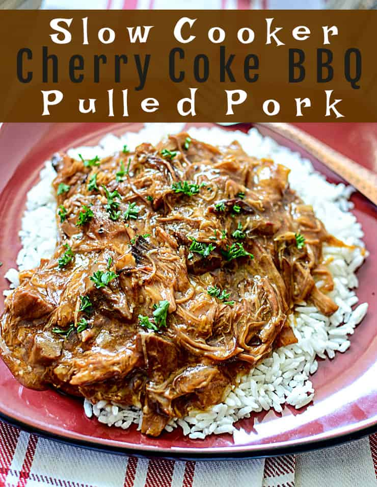Slow Cooker Cherry Coke BBQ Pulled Pork on rice